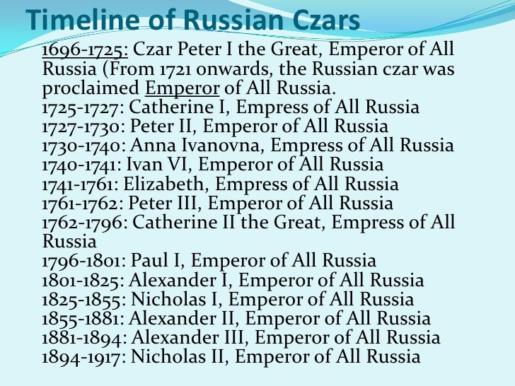 an overview of the russia in the 1800s and the russian tsars Russia up to 1914 up until this period, the russian empire was a european superpower it was the largest country in the world stretching from the black sea in the west to the bering sea in the .