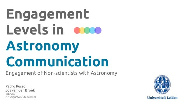 Engagement Levels in Astronomy Communication Engagement of Non-scientists with Astronomy Pedro Russo Jos van den Broek @pr...