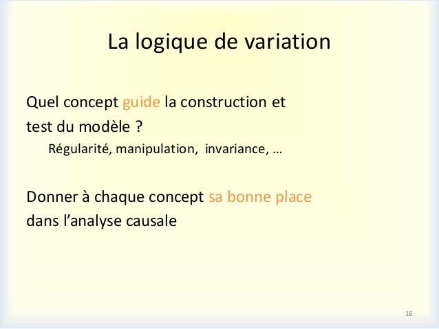 La logique de variationQuel concept guide la construction ettest du modèle ?   Régularité, manipulation, invariance, …Donn...