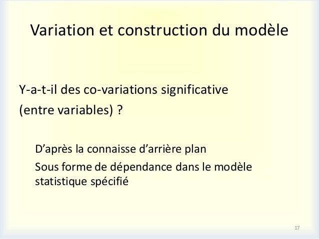 Variation et construction du modèleY-a-t-il des co-variations significative(entre variables) ?   D'après la connaisse d'ar...