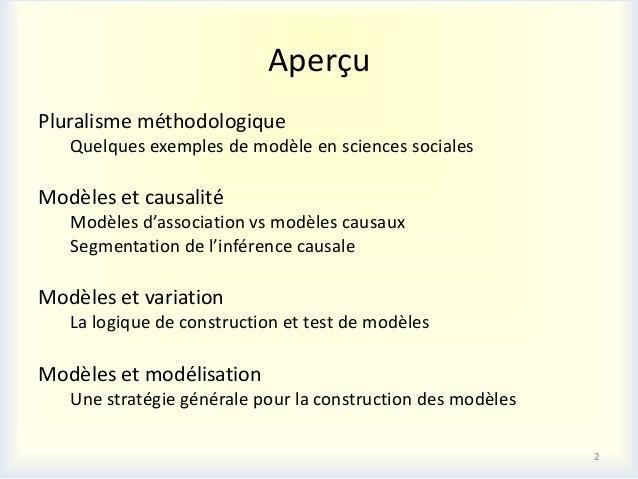 AperçuPluralisme méthodologique   Quelques exemples de modèle en sciences socialesModèles et causalité   Modèles d'associa...