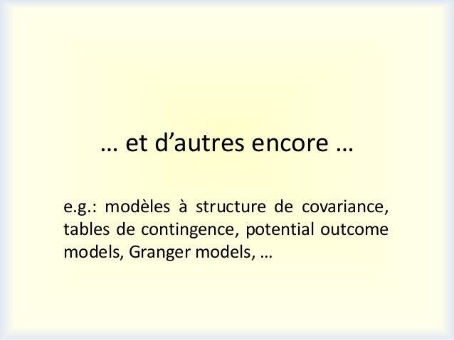 … et d'autres encore …e.g.: modèles à structure de covariance,tables de contingence, potential outcomemodels, Granger mode...