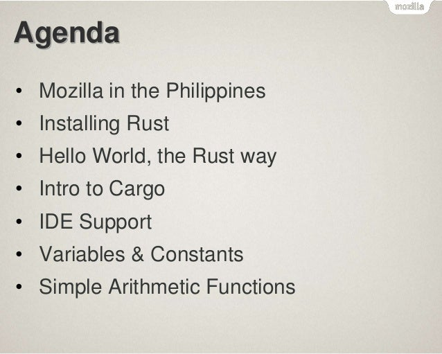 MozillaPH Rust Hack & Learn Session 1