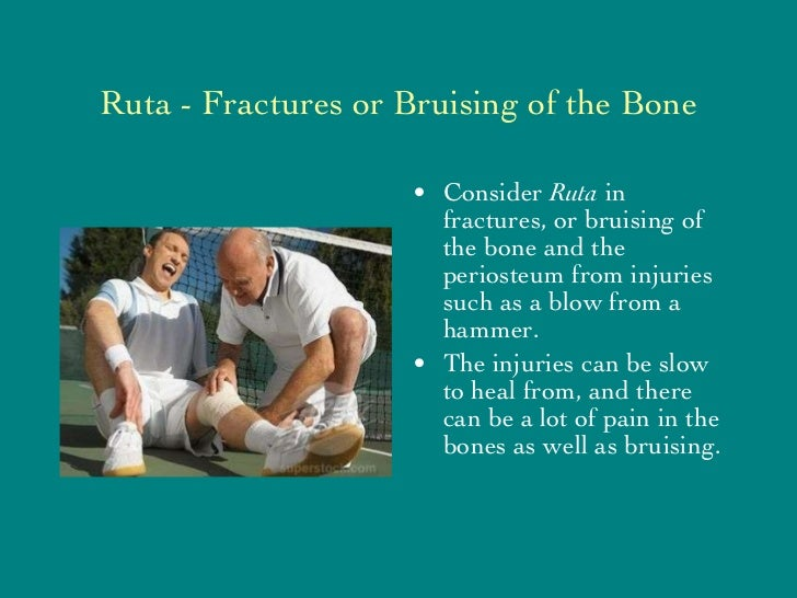 Ruta - Fractures or Bruising of the Bone <ul><li>Consider  Ruta  in fractures, or bruising of the bone and the periosteum ...