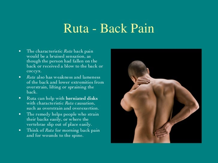 Ruta - Back Pain <ul><li>The characteristic  Ruta  back pain would be a bruised sensation, as though the person had fallen...