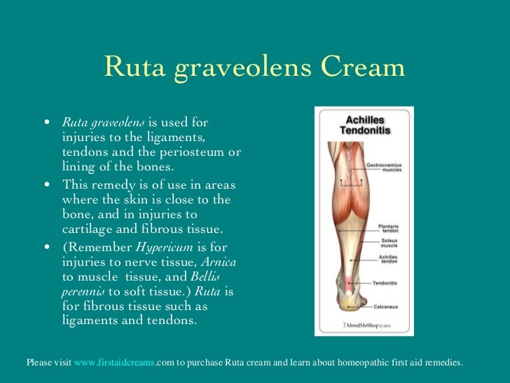 Ruta graveolens Cream <ul><li>Ruta graveolens  is used for injuries to the ligaments, tendons and the periosteum or lining...