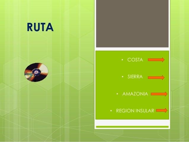 RUTA• COSTA• SIERRA• AMAZONIA• REGION INSULAR