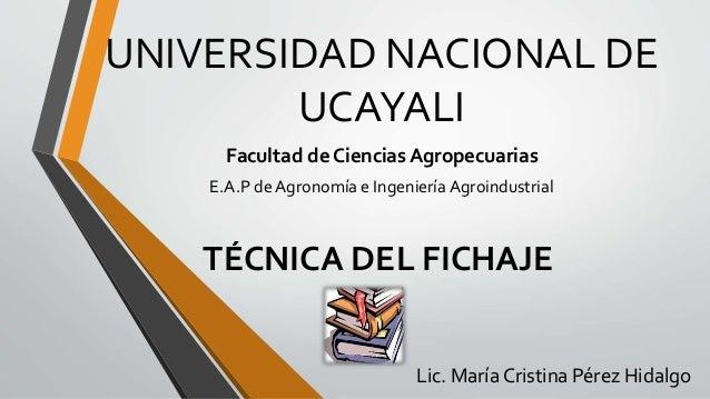 UNIVERSIDAD NACIONAL DE UCAYALI Facultad de Ciencias Agropecuarias E.A.P de Agronomía e Ingeniería Agroindustrial TÉCNICA ...