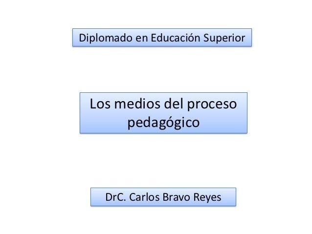 Diplomado en Educación Superior  Los medios del proceso       pedagógico    DrC. Carlos Bravo Reyes