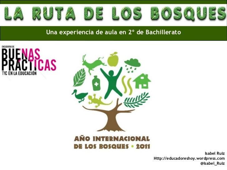 Una experiencia de aula en 2º de Bachillerato Isabel Ruiz Http://educadoreshoy.wordpress.com @Isabel_Ruiz