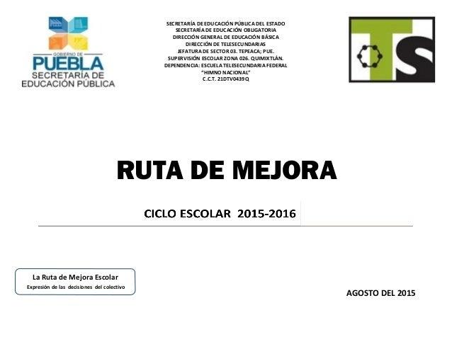 RUTA DE MEJORA AGOSTO DEL 2015 La Ruta de Mejora Escolar Expresión de las decisiones del colectivo SECRETARÍA DE EDUCACIÓN...
