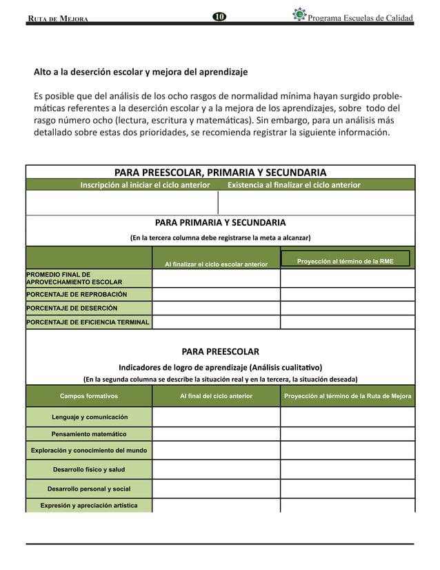 Ruta de Mejora Programa Escuelas de Calidad PARA PREESCOLAR, PRIMARIA Y SECUNDARIA Inscripción al iniciar el ciclo anterio...