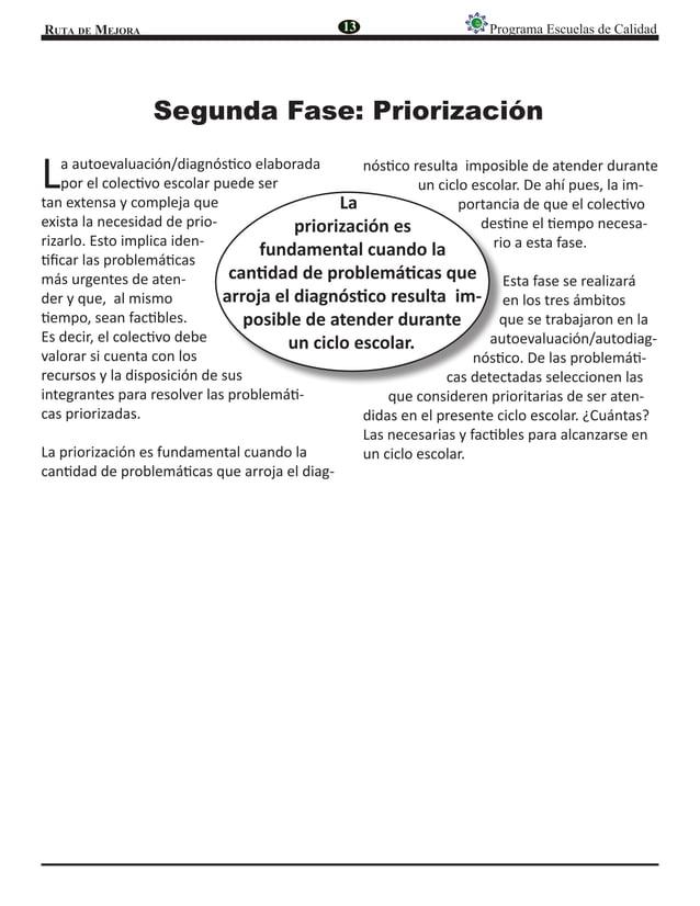 Ruta de Mejora Programa Escuelas de Calidad Segunda Fase: Priorización La autoevaluación/diagnóstico elaborada por el cole...