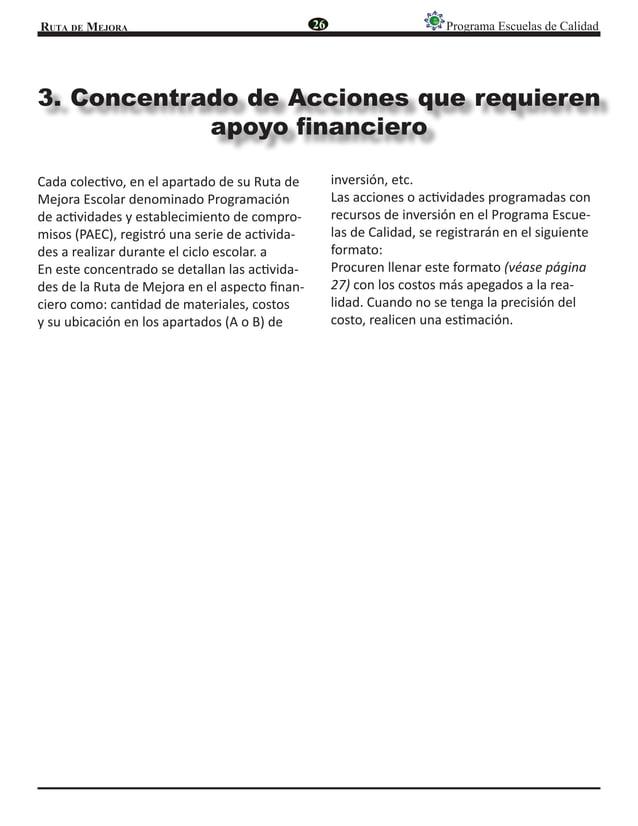 Ruta de Mejora Programa Escuelas de Calidad 3. Concentrado de Acciones que requieren apoyo financiero Cada colectivo, en e...