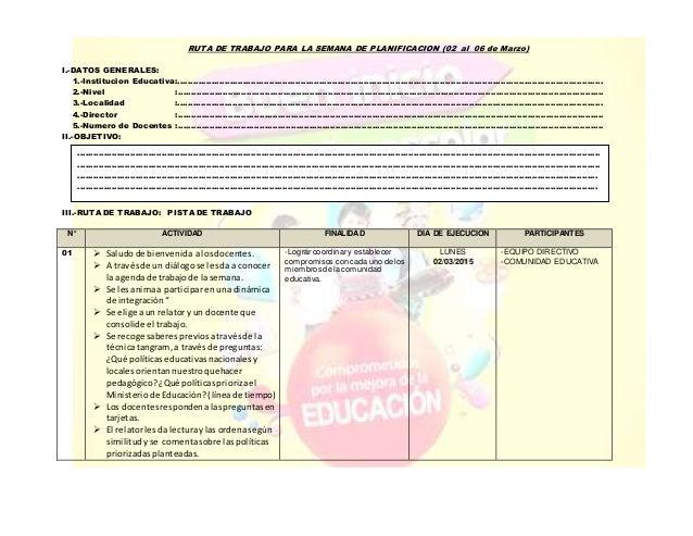 RUTA DE TRABAJO PARA LA SEMANA DE PLANIFICACION (02 al 06 de Marzo) I ... cf3bff4a993ea