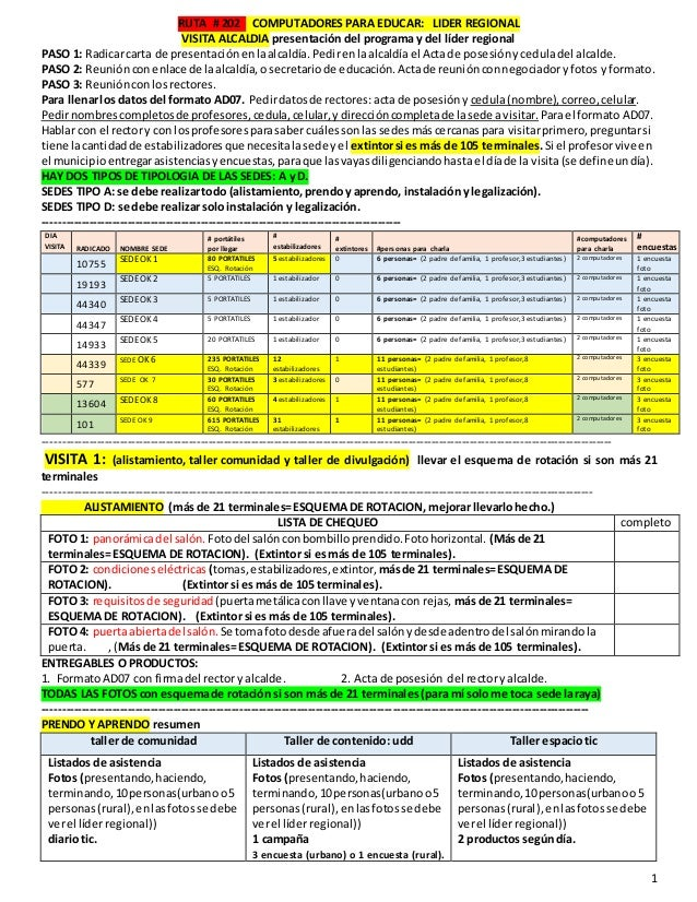 1 RUTA # 202 COMPUTADORES PARA EDUCAR: LIDER REGIONAL VISITA ALCALDIA presentaci�n del programa y del l�der regional PASO ...