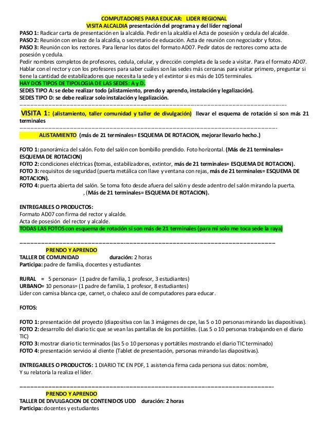 COMPUTADORES PARA EDUCAR: LIDER REGIONAL VISITA ALCALDIA presentaci�n del programa y del l�der regional PASO 1: Radicar ca...