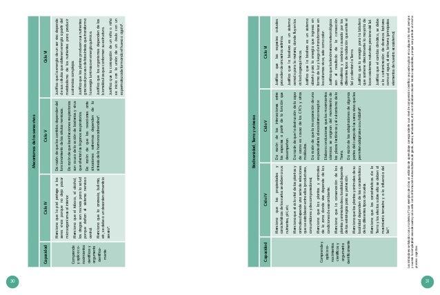 30 31 Mecanismosdelosseresvivos CapacidadCicloIVCicloVCicloVI Comprende yaplicaco- nocimientos científicosy argumenta cien...