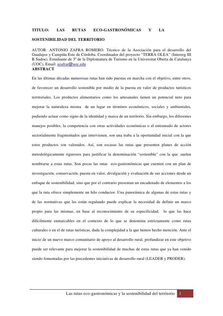 TITULO:        LAS      RUTAS        ECO-GASTRONÓMICAS                 Y     LA  SOSTENIBILIDAD DEL TERRITORIO  AUTOR: ANT...
