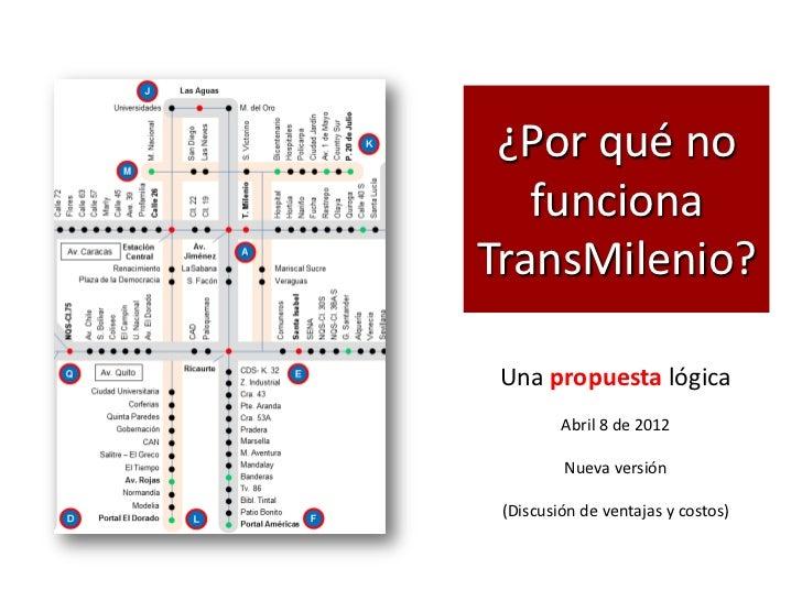 ¿Por qué no   funcionaTransMilenio? Una propuesta lógica         Abril 8 de 2012         Nueva versión (Discusión de venta...