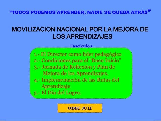 """""""TODOS PODEMOS APRENDER, NADIE SE QUEDA ATRÁS""""  MOVILIZACION NACIONAL POR LA MEJORA DE LOS APRENDIZAJES Fascículo 1  1.- E..."""