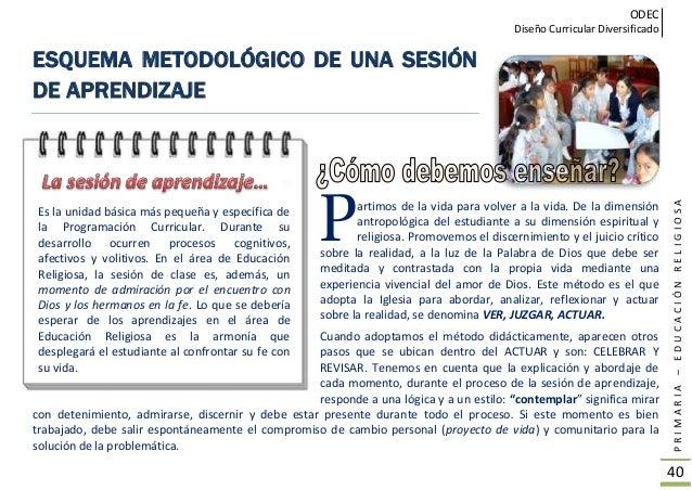ODEC Diseño Curricular Diversificado PRIMARIA–EDUCACIÓNRELIGIOSA 41 ESQUEMA METODOLÓGICO DEL ÁREA DE EDUCACIÓN RELIGIOSA V...