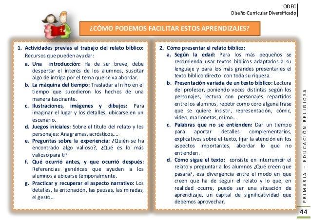 ODEC Diseño Curricular Diversificado PRIMARIA–EDUCACIÓNRELIGIOSA 45 3. Cómo trabajar el texto bíblico: a. Preguntas de com...