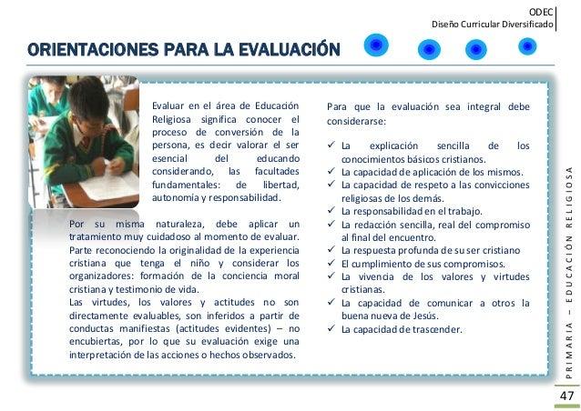 ODEC Diseño Curricular Diversificado PRIMARIA–EDUCACIÓNRELIGIOSA 48 LINEAMIENTOS PARA LA PASTORAL EDUCATIVA EN LA ESCUELA ...