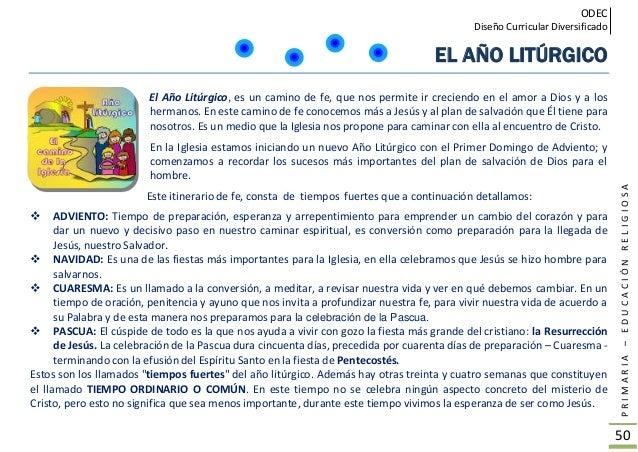 ODEC Diseño Curricular Diversificado PRIMARIA–EDUCACIÓNRELIGIOSA 51 Los colores tienen un significado en el tiempo litúrgi...