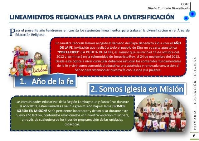 ODEC Diseño Curricular Diversificado PRIMARIA–EDUCACIÓNRELIGIOSA 7 PARA VIVIR EL AÑO DE LA FE Y LA MISIÓN EN NUESTRA INSTI...
