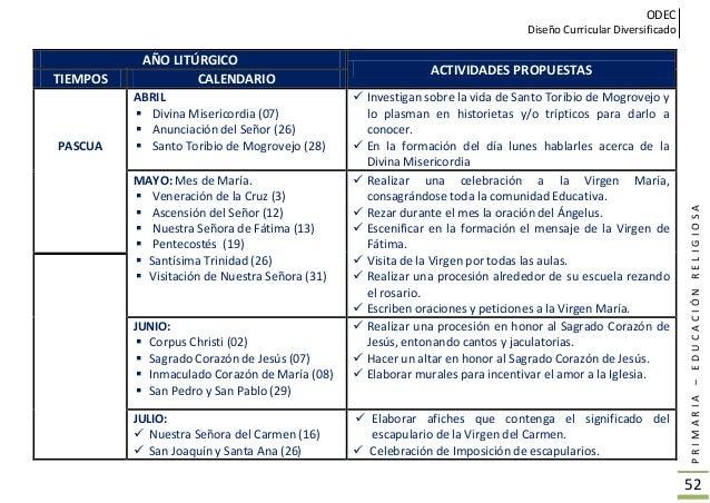 ODEC Diseño Curricular Diversificado PRIMARIA–EDUCACIÓNRELIGIOSA 53 AÑO LITÚRGICO ACTIVIDADES PROPUESTAS TIEMPOS CALENDARI...