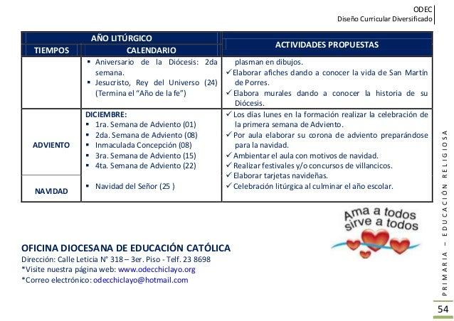 ODEC Diseño Curricular Diversificado PRIMARIA–EDUCACIÓNRELIGIOSA 55 TEXTOS DE RELIGIÓN ADECUADOS Y COMPLEMENTADOS DE ACUER...