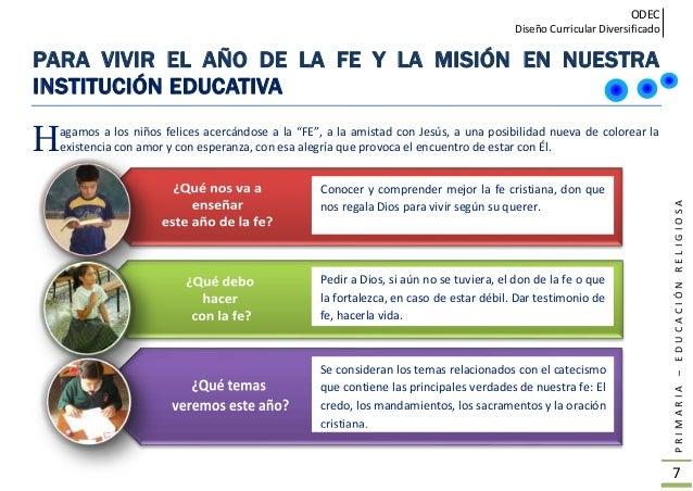 ODEC Diseño Curricular Diversificado PRIMARIA–EDUCACIÓNRELIGIOSA 8 NECESIDAD DE CONOCER NUESTRA FE DESDE LA ESCUELA Hablar...