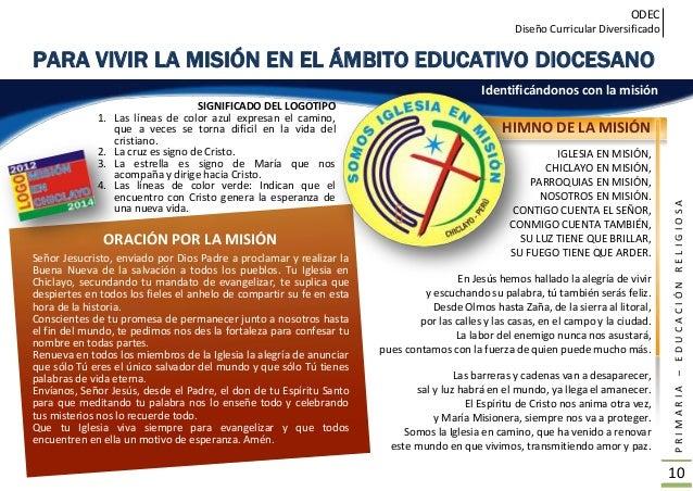 ODEC Diseño Curricular Diversificado PRIMARIA–EDUCACIÓNRELIGIOSA 11 ORGANIZADORES os organizadores del Área de Educación R...