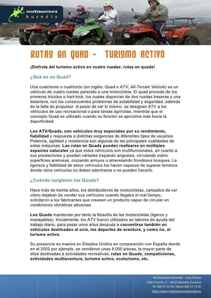 Ru  utas en Qu - Tur o Act           uad   rismo tivo ¡Disfruta del t               turismo ac                        ctiv...