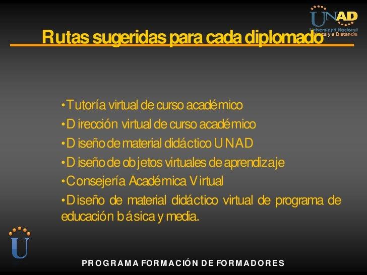 Rutas sugeridas para cada diplomado  • Tutoría virtual de curso académico  • D irección virtual de curso académico  • D is...
