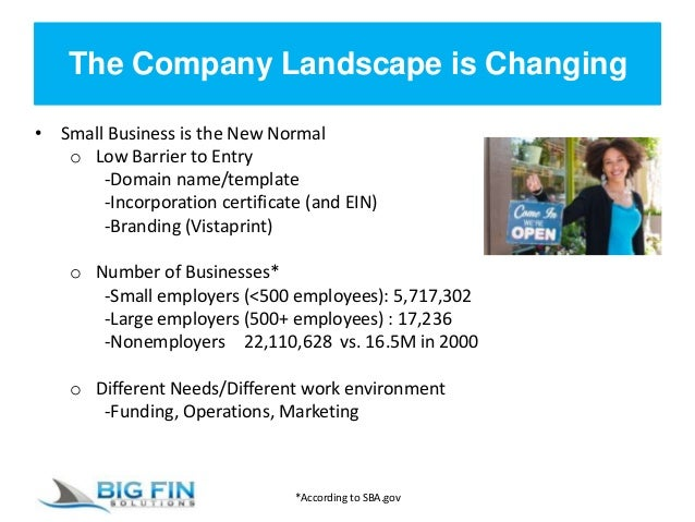 The Company Landscape is Changing • Small Business is the New Normal o Low Barrier to Entry -Domain name/template -Incorpo...
