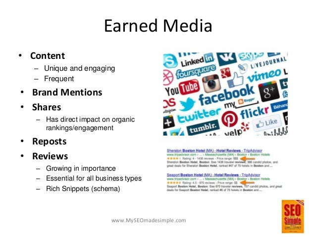 www.MySEOmadesimple.com Owned Media • Website – Primary online asset – To inform and convert • Mobile Site – Growing perce...