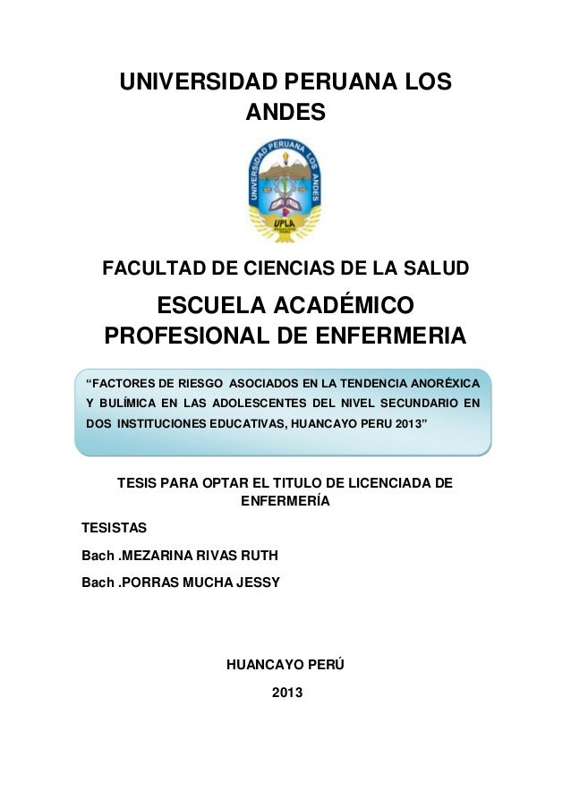 """UNIVERSIDAD PERUANA LOS ANDES  FACULTAD DE CIENCIAS DE LA SALUD  ESCUELA ACADÉMICO PROFESIONAL DE ENFERMERIA """"FACTORES DE ..."""