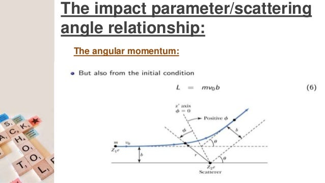 the impact parameter/scattering angle relationship: conservation of angular  momentum: 24