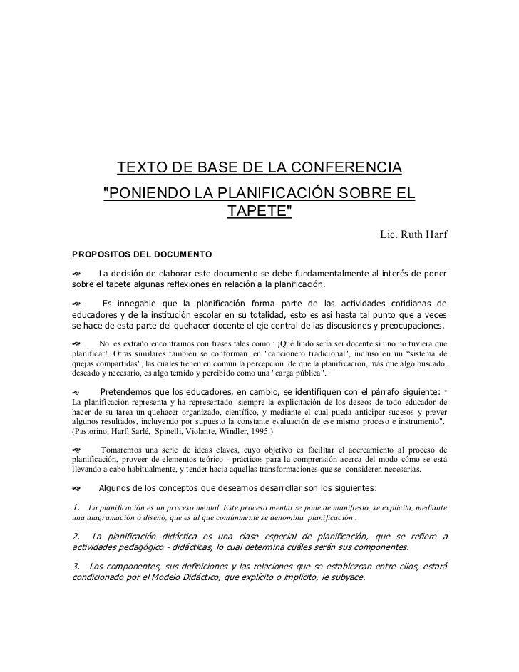 """TEXTO DE BASE DE LA CONFERENCIA         """"PONIENDO LA PLANIFICACIÓN SOBRE EL                       TAPETE""""                 ..."""