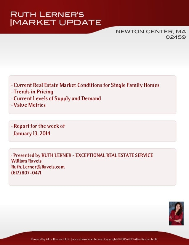Ruth Lerner's MARKET UPDATE NEWTON CENTER, MA 02459  · Current Real Estate Market Conditions for Single Family Homes · Tre...