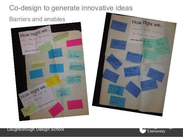 Co-design to generate innovative ideasBarriers and enablesLoughborough Design School