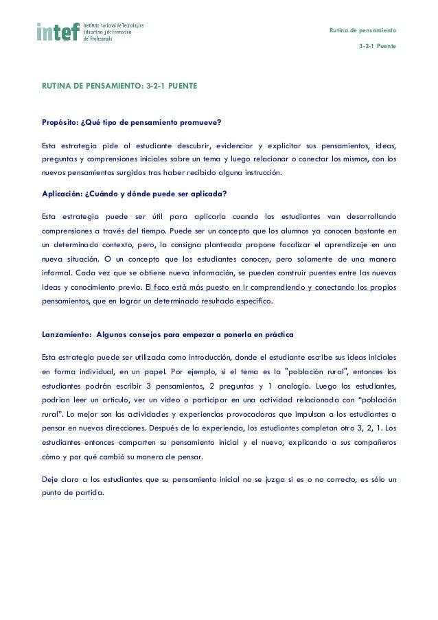 Rutina de pensamiento 3-2-1 Puente       RUTINA DE PENSAMIENTO: 3-2-1 PUENTE    Propósito: ¿Qué tipo de pensamiento ...