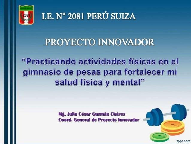 Mg. Julio César Guzmán Chávez Coord. General de Proyecto Innovador