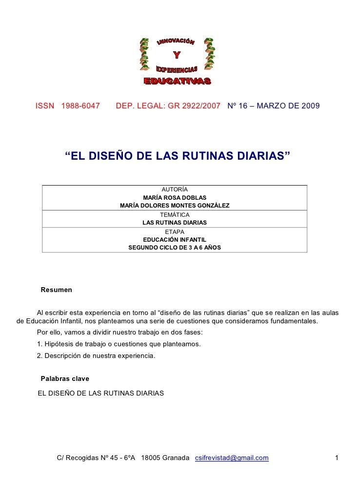 """ISSN 1988-6047             DEP. LEGAL: GR 2922/2007 Nº 16 – MARZO DE 2009                """"EL DISEÑO DE LAS RUTINAS DIARIAS..."""