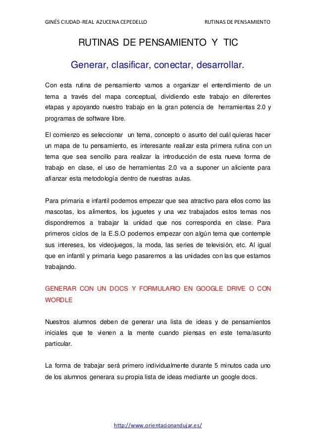 GINÉS CIUDAD-REAL AZUCENA CEPEDELLO RUTINAS DE PENSAMIENTO  RUTINAS DE PENSAMIENTO Y TIC  Generar, clasificar, conectar, d...
