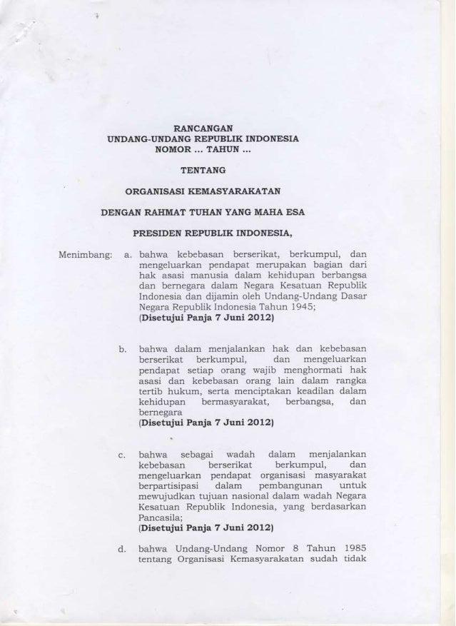 RUU ORMAS draft November 2012