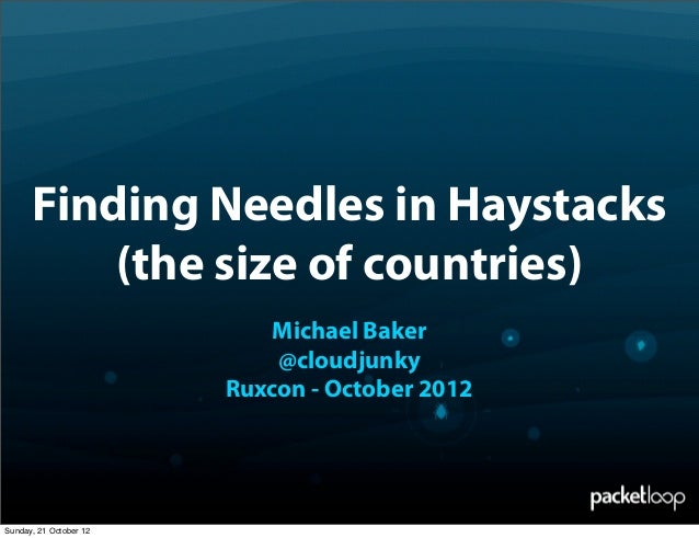 Finding Needles in Haystacks          (the size of countries)                            Michael Baker                    ...