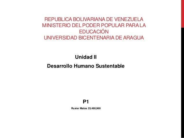 REPUBLICA BOLIVARIANA DE VENEZUELA MINISTERIO DEL PODER POPULAR PARA LA EDUCACIÓN UNIVERSIDAD BICENTENARIA DE ARAGUA Unida...